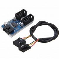 Internal USB 2.0 Motherboard Header Double Splitter Cable Hub
