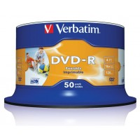 Verbatim 43533 16x Speed White Full Face Printable DVD-R - 50 TUB - Verbatim