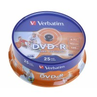 Verbatim 43538 16x Full Face Printable DVD-R - 25 Tub
