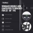 "VonHaus 23"" to 56"" Double Arm Tilt & Swivel TV Bracket"