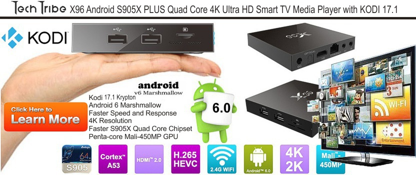TechTribe X96 Android S905X PLUS Quad Core 4K Ultra HD Smart TV Media Player with KODI 16.1